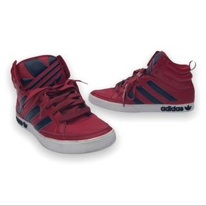 Adidas Court Red High Top Sneakers Shoes